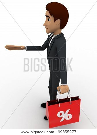 3D Man With Discount Bag Concept