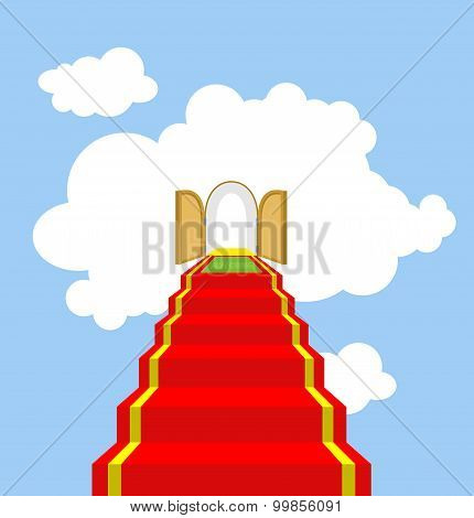 Open Gates Of Paradise. Ladder Into Clouds. Degree In Sky. Red Carpet For Ascent Into Paradise. Vect