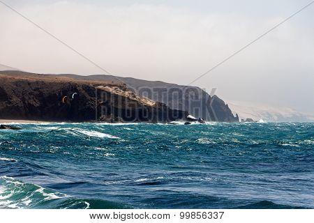 Sea Surf On The Rocks In The   La Pared On Fuerteventura