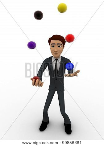 3D Man Juggle Colourful Ball Concept