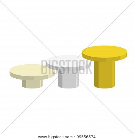 Sports Round Pedestal Fo Winner. Prizes For Achievement. Empty Podium On A White Background. Stairs