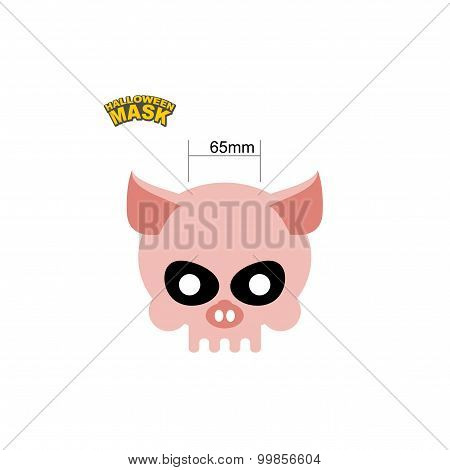 Halloween Mask Skull Of A Pig. Dear Head Of Skeleton Of An Animal. Vector Illustration.