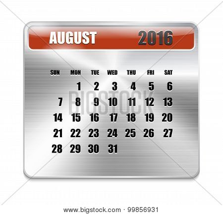 Monthly Calendar For August 2016 On Metallic Plate Color