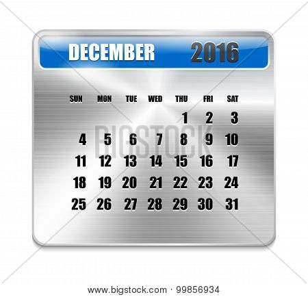 Monthly Calendar For December 2016 On Metallic Plate Color