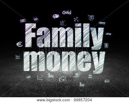 Banking concept: Family Money in grunge dark room