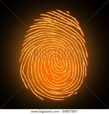 Fire fingerprint on dark background