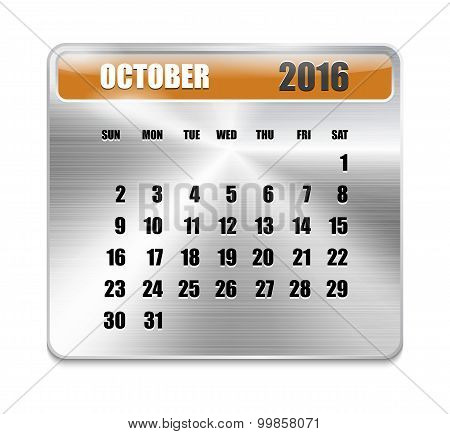 Monthly Calendar For October 2016 On Metallic Plate Color