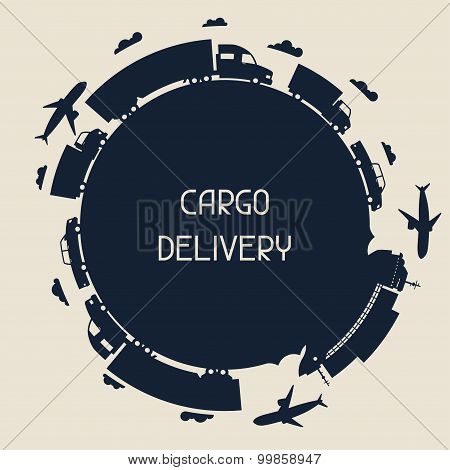 Freight cargo transport icons background in flat design style