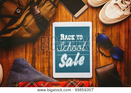 Back to school sale message against differents objects using every days