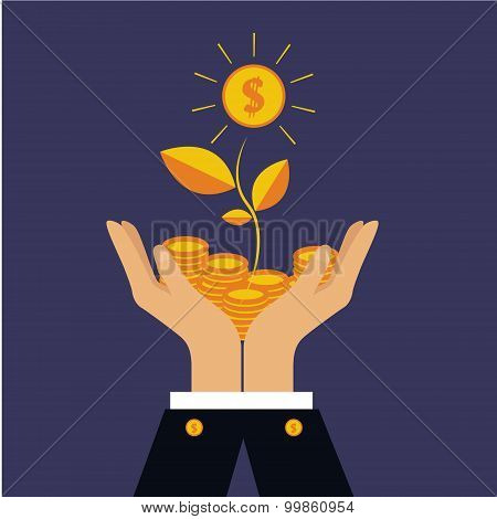 Vector finance concept investing money, coins in hand, money tree