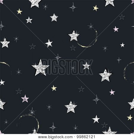 Seamless Night background with hand-drawn and silver foil stars, abstraction vector illustration.