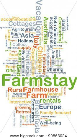 Background concept wordcloud illustration of farmstay