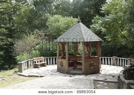 A Wooden Gazebo In The Park Schonborn
