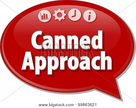Speech bubble dialog illustration of business term saying Canned Approach