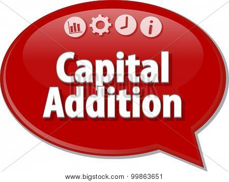 Speech bubble dialog illustration of business term saying Capital Addition