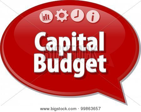 Speech bubble dialog illustration of business term saying Capital Budget