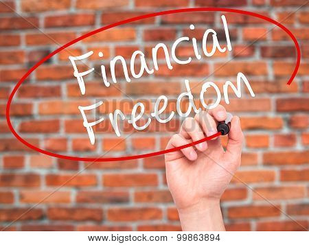 Man Hand writing Financial Freedom with black marker on visual screen.