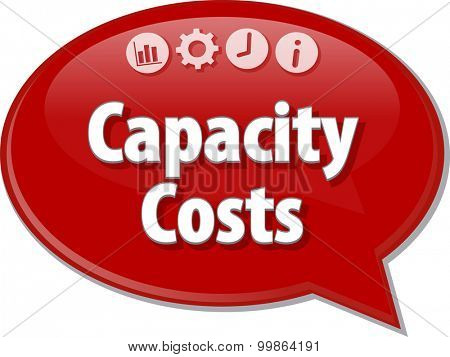 Speech bubble dialog illustration of business term saying Capacity Costs