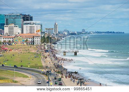 View to the seaside in downtown Colombo, Sri Lanka.