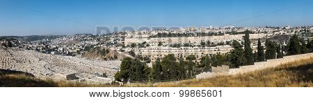 Panorama Overlooking The Old City Of Jerusalem, Israel, Including The Dome Of The Rock And The Weste