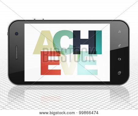 Business concept: Achieve on Smartphone display