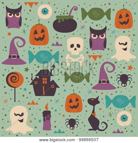 Halloween seamless pattern. Well grouped, each icon is on separate layer.