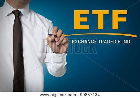 Etf Is Written By Businessman Background