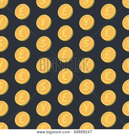 Falling coins seamless pattern