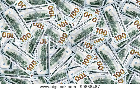 Lots of straggled 100 $ (one hundred dollars) bills background. Wealth