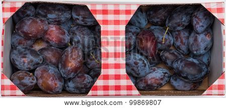 Basket With Blue Plums