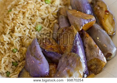 Chinese sauteed eggplant with oyster sauce and fried rice