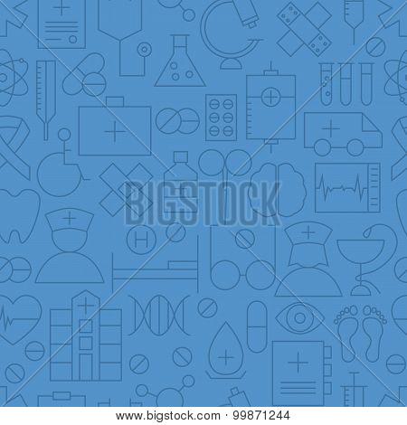 Thin Medical Line Health Care Dark Blue Seamless Pattern