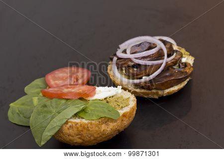 Portobello mushroom sandwich with goat cheese and pesto