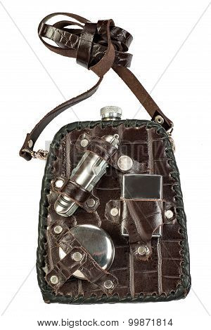 hiking flask with accessories