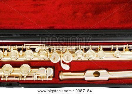 Flute in case close up