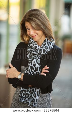 Grinning Business Woman Outdoors