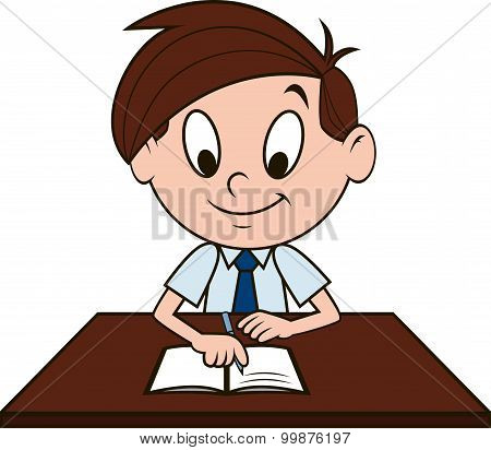 Boy at the desk