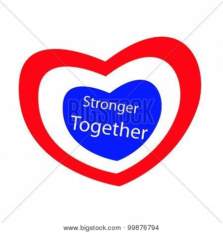 Stronger Together With Heart Shape Of Stripe Label