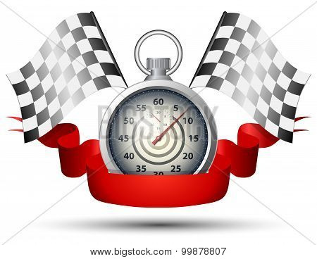 Stopwatch With Checkered Racing Flags And Red Banner Ribbon