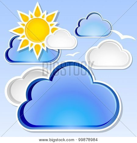 Weather Vector Background With Sunshine And Clouds