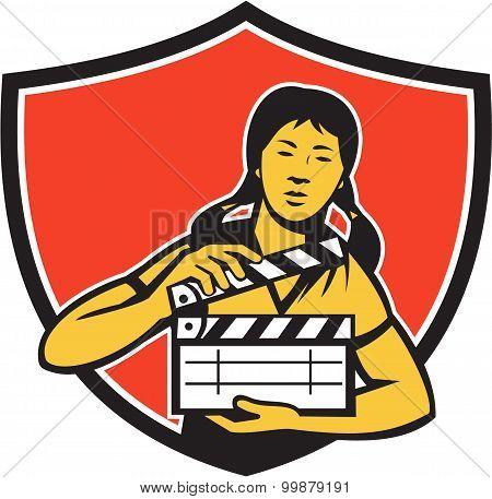 Asian Woman Movie Clapper Shield Retro