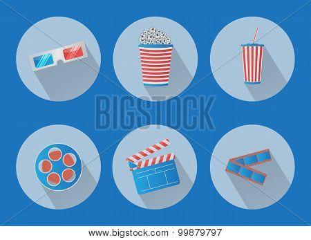 Set Of Flat Cinema Vector Icons