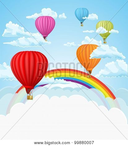 Hot Air Balloons In The Clouds Background. Vector Illustration