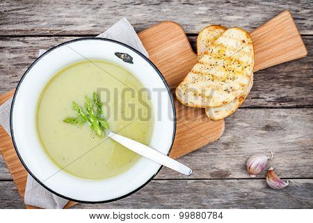 Homemade Cream Soup With Asparagus And Toasted Ciabatta
