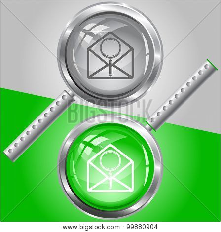 open mail with magnifying glass. Vector magnifying glass.