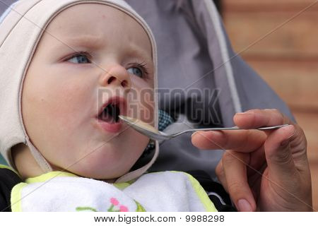 Baby Eats Milk Porridge