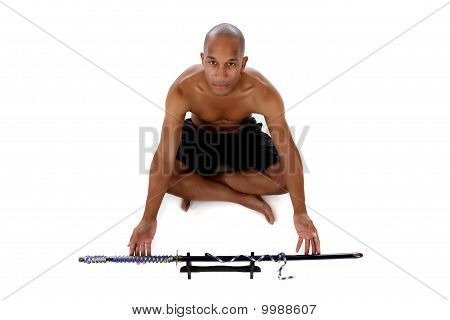 Young Attractive African American Man, Sword