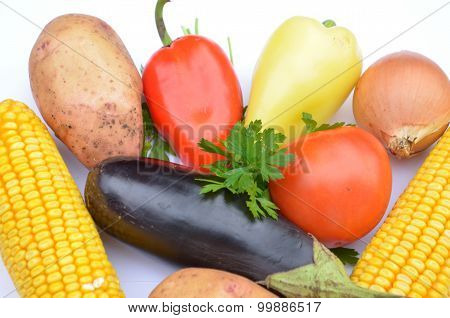 Vegetable - tomato, onion, corn, potatoes, peppers and eggplant