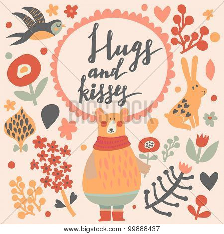 Hugs and kisses - sweet vector card. Awesome cartoon collection in vector. Concept set with birds and animals. Swallow, rabbit, bear, flowers and bird in sweet colors in vector