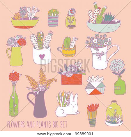 Beautiful flowers and plants big set in vector. Lovely background with cute flowers, sweet house plants in pots and funny rabbit